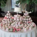 Beautiful pink and white wedding cupcake display
